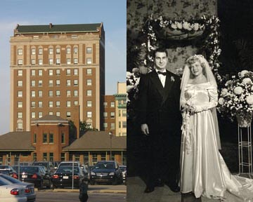 This is an image of the hotel where the Rymers were married and their wedding photograph.